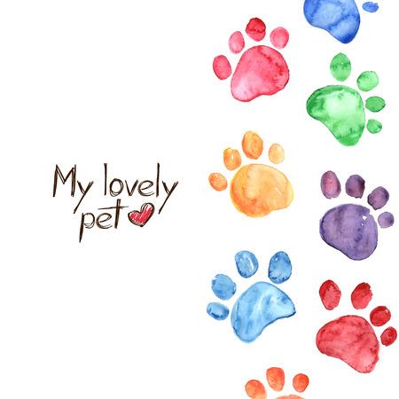 손으로 그린 수채화 그림 동물의 발자국