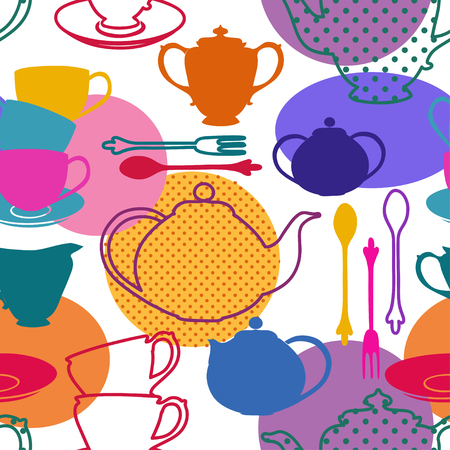 sugar spoon: Seamless pattern of colorful tea set dishes Illustration