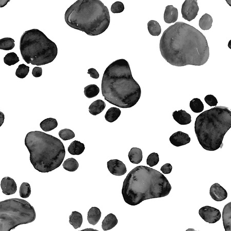 paw paw: Black hand drawn watercolor illustration with animal footprints