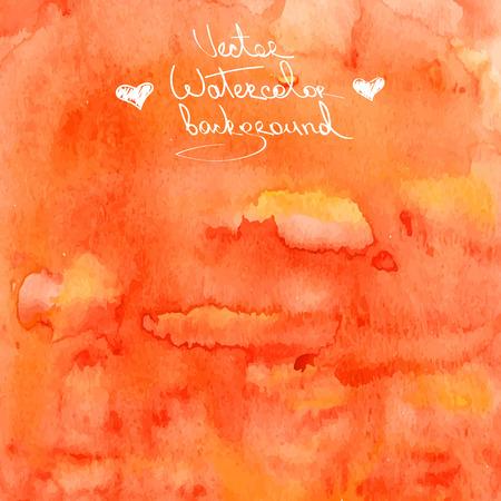 Vector watercolor abstract orange background
