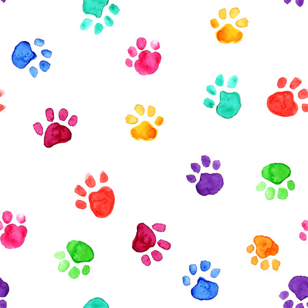 Colorful hand drawn watercolor illustration with animal footprints