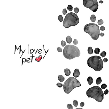 Hand drawn watercolor illustration with animal footprints