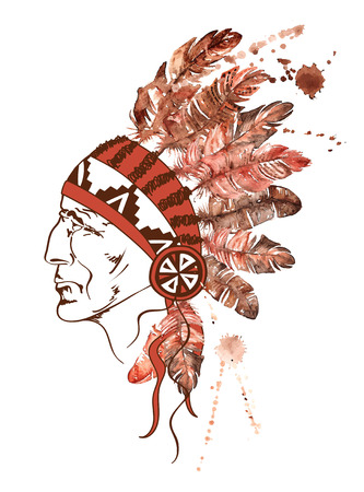 roach: Watercolor illustration with hand drawn Native American Indian chief Illustration