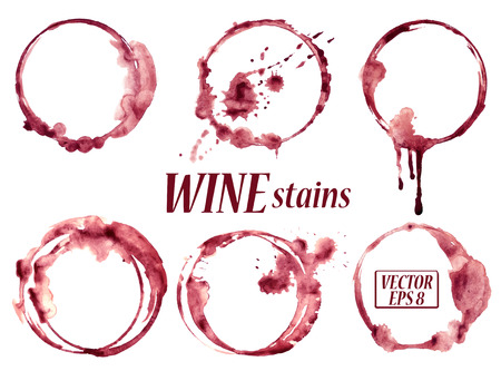 glass with red wine: Isolated vector watercolor spilled wine glasses stains icons