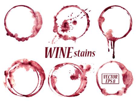 copa de vino: Vector acuarela aislado derramado copas de vino manchas iconos Vectores