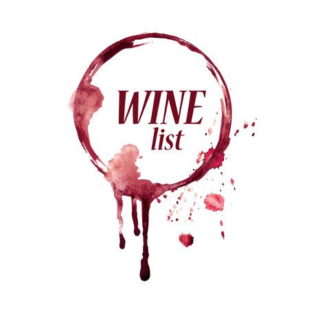 こぼれたワイングラスを持つ水彩ベクトルエンブレム染色します。