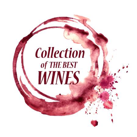 copa de vino: Vector acuarela emblema con copas de vino derramado mancha Vectores
