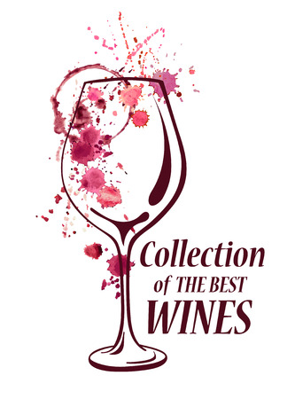 Vector watercolor emblem with wine glass, splash, stains and spilled blots Vector
