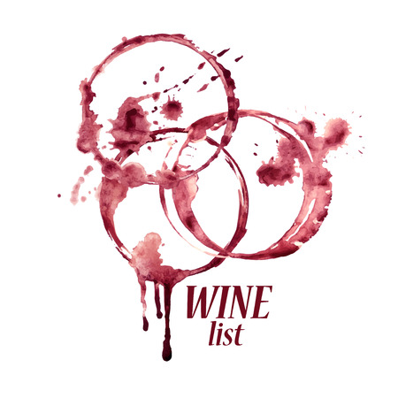 a stain: Vector watercolor emblem with spilled wine glasses stains