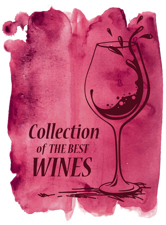 Hand drawn vector watercolor background with wine glass Vector