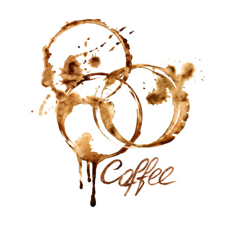Vector watercolor emblem with spilled coffee stains Illustration