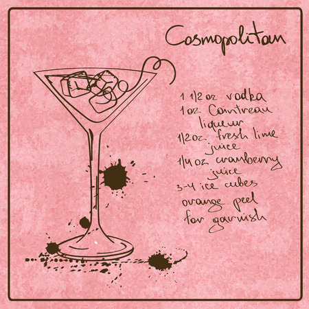 cosmopolitan: Illustration with hand drawn sketch Cosmopolitan cocktail. Including recipe and ingredients on the grunge vintage background