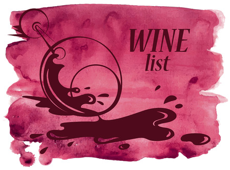 overturned: Hand drawn vector watercolor background with overturned wine glass Illustration
