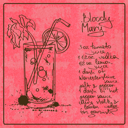 Illustration with hand drawn sketch Bloody Mary cocktail. Including recipe and ingredients on the grunge vintage background Illustration