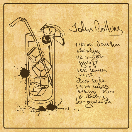 collins: Illustration with hand drawn sketch John Collins cocktail. Including recipe and ingredients on the grunge vintage background