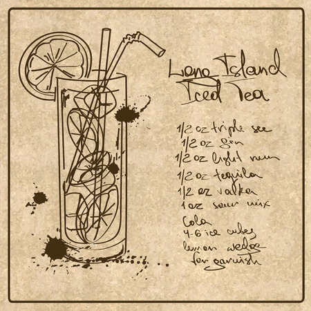 Illustration with hand drawn sketch Long Island Iced Tea cocktail. Including recipe and ingredients on the grunge vintage background