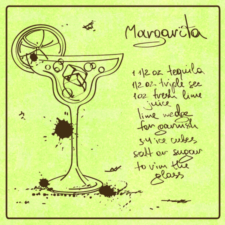 recipe card: Illustration with hand drawn sketch Margarita cocktail. Including recipe and ingredients on the grunge vintage background