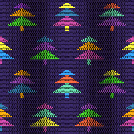 Seamless knitted pattern with colorful Christmas trees