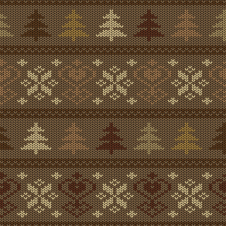 Seamless knitted pattern. Scandinavian ornament with trees and snowflakes Vector