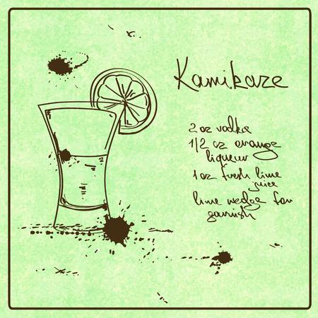 kamikaze: Illustration with hand drawn sketch Kamikaze cocktail. Including recipe and ingredients on the grunge vintage background Illustration