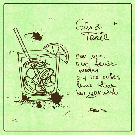Ilustración con el dibujado a mano Gin Tonic boceto y cóctel. Incluyendo la receta y los ingredientes en el fondo del grunge del vintage