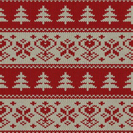 Seamless knitted pattern. Scandinavian ornament with trees and snowflakes 矢量图像