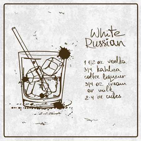 white russian: Illustration with hand drawn sketch White Russian cocktail. Including recipe and ingredients on the grunge vintage background Illustration