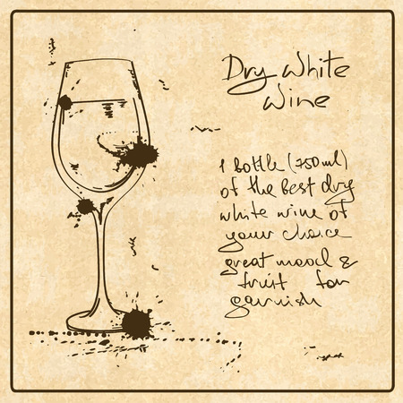 Illustration with hand drawn sketch White Wine. Including recipe and ingredients on the grunge vintage background