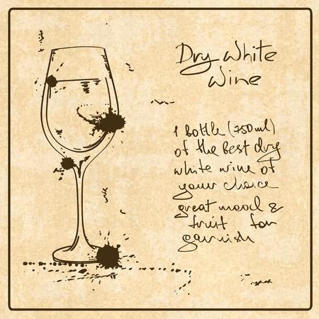 Illustrazione con schizzo disegnato a mano vino bianco. Tra cui ricetta e gli ingredienti sul grunge vintage background Archivio Fotografico - 33818001