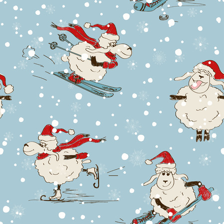 Sketching seamless pattern of funny New Year sheep. Sheep practice winter sports Vector