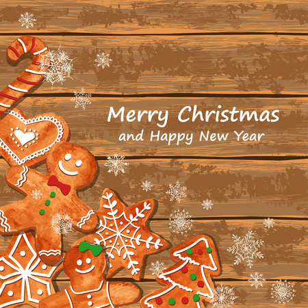 spice cake: Christmas greeting card with funny watercolor gingerbread cookies on a wooden boards background. Vector illustration