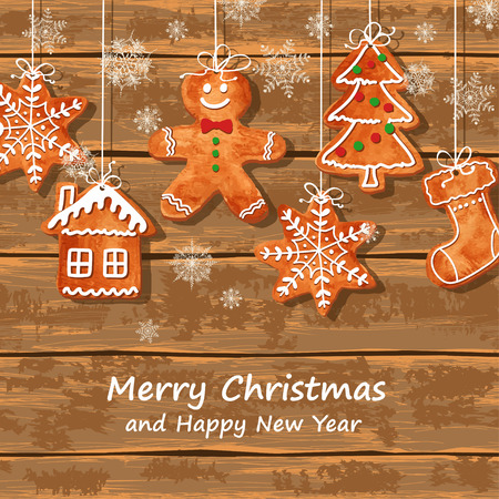 Christmas greeting card with funny watercolor gingerbread cookies hanging on a wooden boards background. Vector illustration Çizim