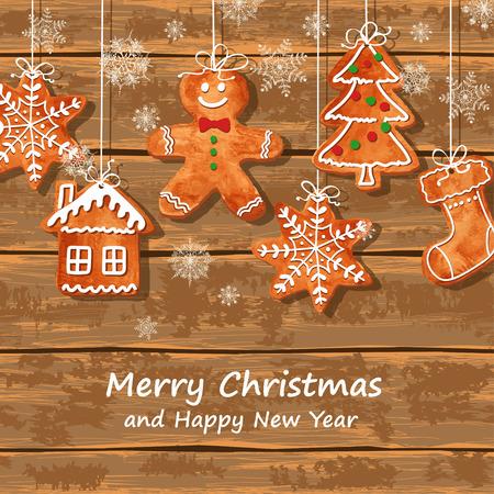 Tarjeta de felicitación de Navidad con divertidas galletas de jengibre acuarela colgando de un fondo de tablas de madera. Ilustración vectorial Foto de archivo - 34141661