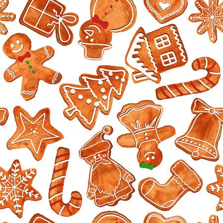 水彩クリスマス ジンジャーブレッドのクッキーのシームレスなパターン。ベクトル イラスト