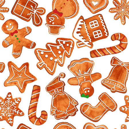candy cane background: Seamless pattern of watercolor Christmas gingerbread cookies. Vector illustration