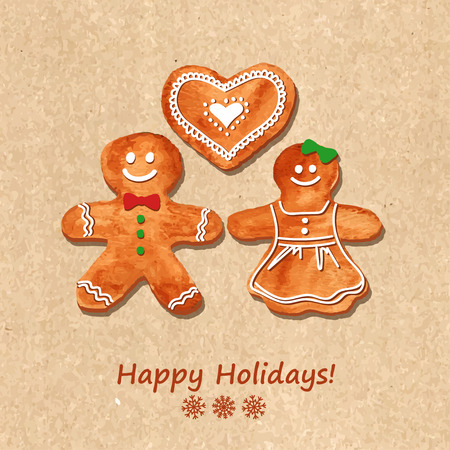 vector greeting card: Christmas greeting card with funny watercolor gingerbread cookies on a retro background. Vector illustration