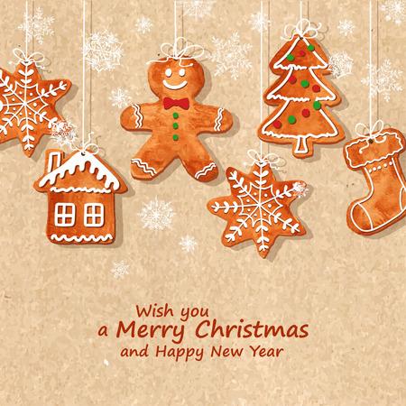 Carte de voeux de Noël avec des drôles biscuits de pain d'épice aquarelle suspendus sur un rétro fond. Vector illustration Banque d'images - 34141670