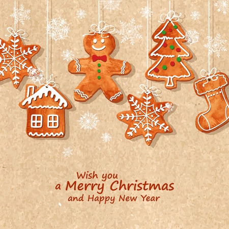 Christmas greeting card with funny watercolor gingerbread cookies hanging on a retro background. Vector illustration
