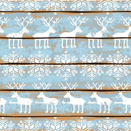 Retro Christmas seamless pattern with funny deers and snowflakes on a blue painted wooden boards background Vettoriali