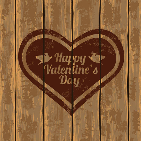 Valentines greeting card. Illustration with heart on a retro wooden boards background Vector