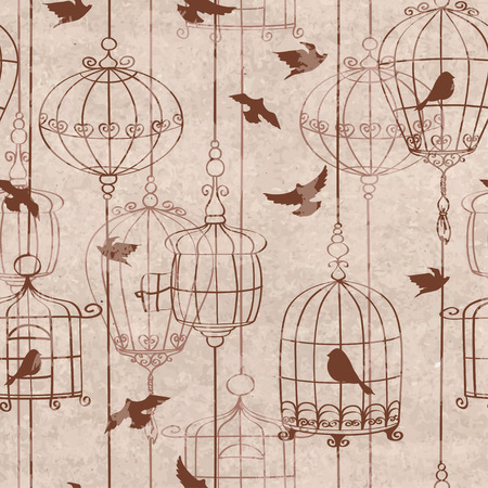 birds wings: Retro seamless pattern with birds and cage
