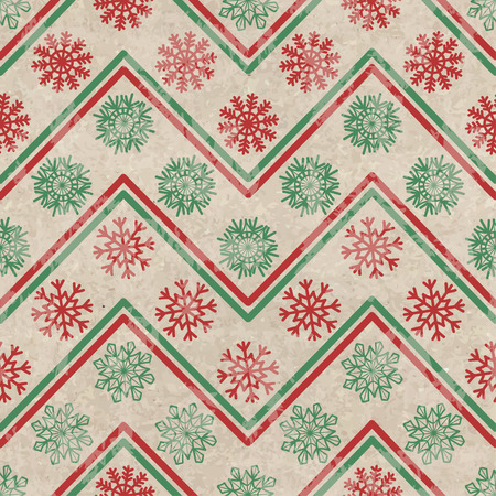 december background: Geometric retro seamless pattern with colorful snowflakes on a vintage cardboard background Illustration