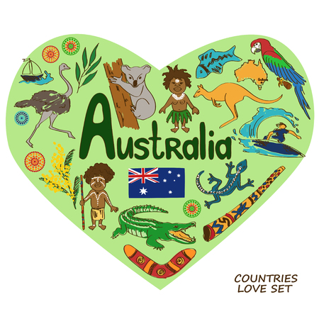 emu bird: Colorful sketch collection of Australian symbols in heart shape concept.  Illustration