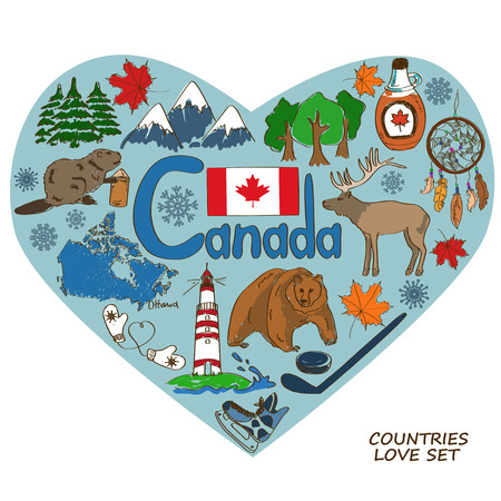 maple syrup: Colorful sketch collection of Canadian symbols in heart shape concept. Travel background Illustration