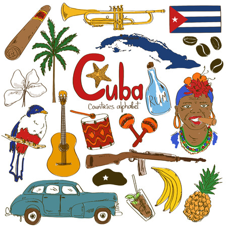 cuba flag: Colorful sketch collection of Cuban icons