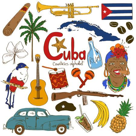 bandera cuba: Colorida colecci�n esbozo de iconos cubanos