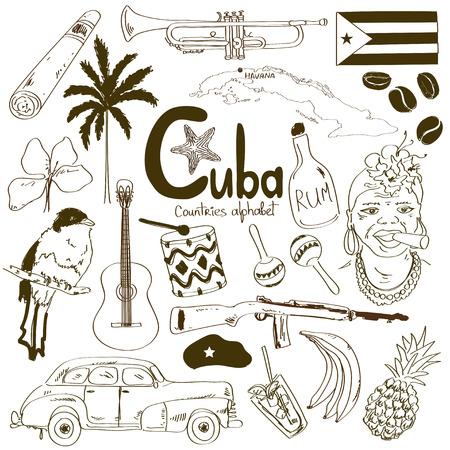 Colección del bosquejo de iconos cubanos