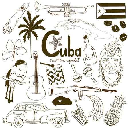 cuba flag: Sketch collection of Cuban icons