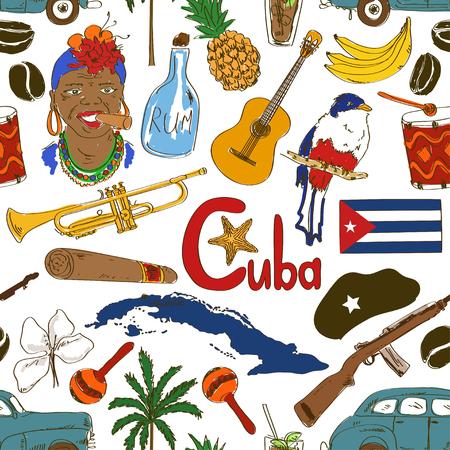 Diversión colorido dibujo patrón transparente cubana
