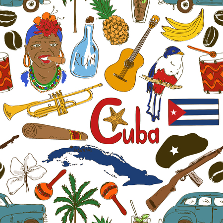 cuba flag: Fun colorful sketch Cuban seamless pattern Illustration